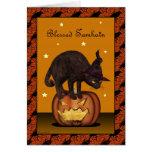 Gato negro en tarjeta de felicitación de la Jack-o