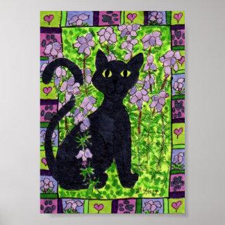 Gato negro en un campo del mini arte popular del póster