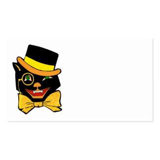 Gato negro en un sombrero de copa tarjetas de visita