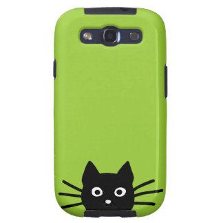 Gato negro en verde (el color es adaptable) galaxy SIII cárcasa