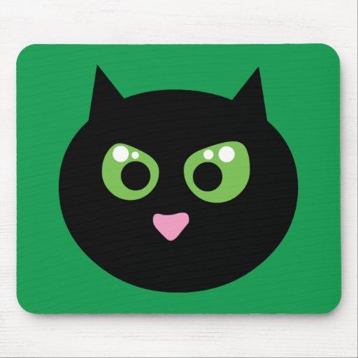 Gato negro enojado alfombrillas de ratones
