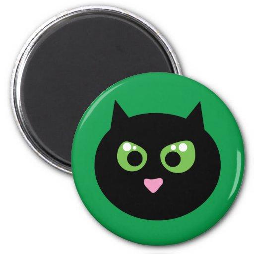 Gato negro enojado imán para frigorífico