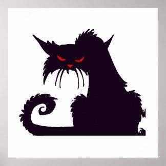 Gato negro enojado posters