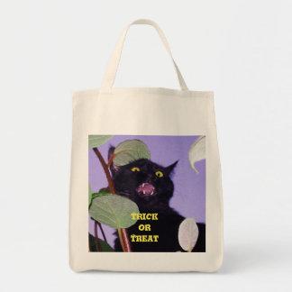 Gato negro enojado y gruñón de encargo de bolsa tela para la compra