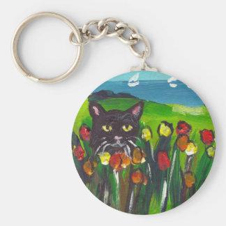 Gato negro entre tulipanes llavero redondo tipo pin