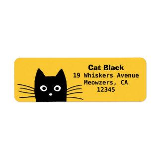 Gato negro etiqueta de remite