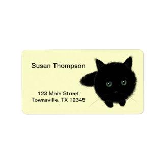 Gato negro etiqueta de dirección
