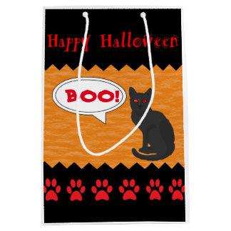 Gato negro fantasmagórico - bolsos de encargo de bolsa de regalo mediana