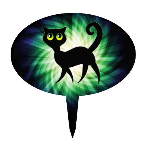 Gato negro fantasmagórico figuras de tarta