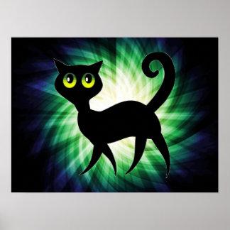 Gato negro fantasmagórico poster