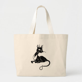 Gato negro flaco bolsa tela grande