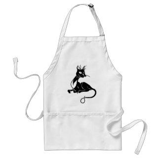 Gato negro flaco delantal