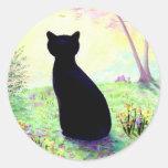 Gato negro floral Creationarts del jardín de Pegatina Redonda