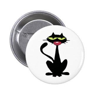 Gato negro fresco con la nariz roja grande pin redondo de 2 pulgadas