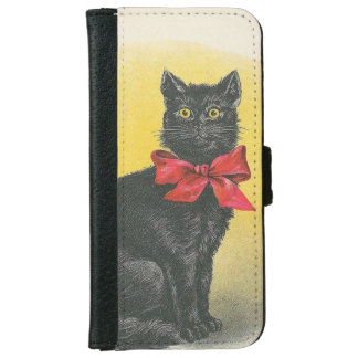 Gato negro funda cartera para iPhone 6
