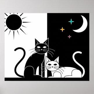Gato negro, gato blanco póster