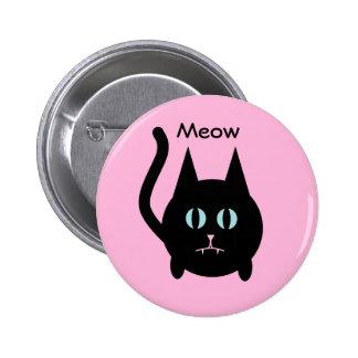 Gato negro gordo lindo en el perno rosado pins
