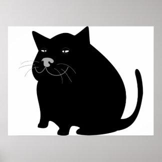 Gato negro gordo póster