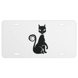 Gato negro gótico placa de matrícula