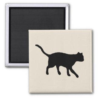 gato negro grande imán cuadrado