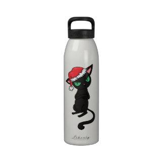 Gato negro gruñón que lleva el gorra de Santa Botellas De Agua Reutilizables