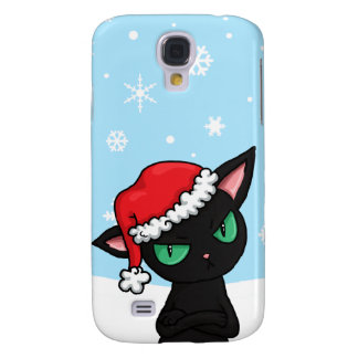Gato negro gruñón que lleva el gorra de Santa Funda Para Galaxy S4