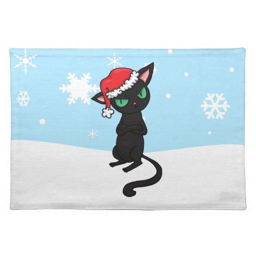 Gato negro gruñón que lleva el gorra de Santa Mantel Individual