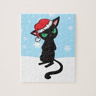 Gato negro gruñón que lleva el gorra de Santa Rompecabeza Con Fotos