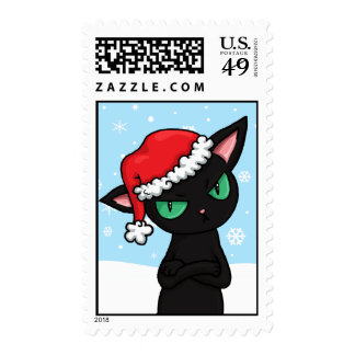 Gato negro gruñón que lleva el gorra de Santa Envio
