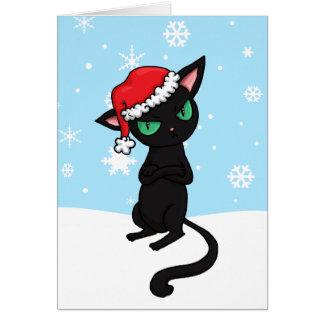 Gato negro gruñón que lleva el gorra de Santa Tarjeta Pequeña