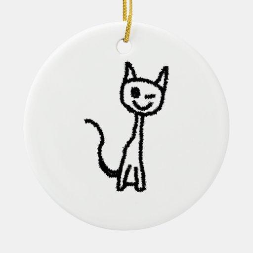 Gato negro, guiñando adorno redondo de cerámica