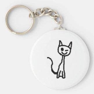 Gato negro, guiñando llavero redondo tipo pin