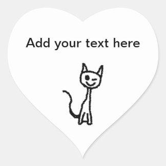 Gato negro, guiñando calcomania corazon personalizadas