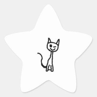 Gato negro guiñando pegatina forma de estrella personalizadas