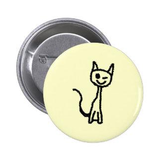 Gato negro, guiñando pins
