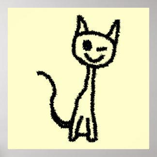 Gato negro, guiñando póster
