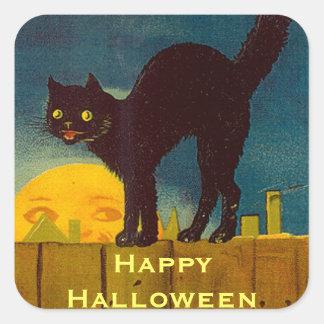 Gato negro Halloween del vintage Pegatina Cuadrada