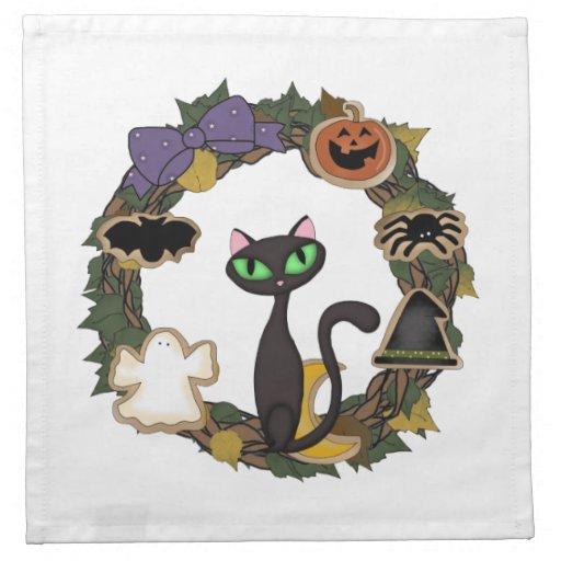 Gato negro Halloween Servilletas Imprimidas
