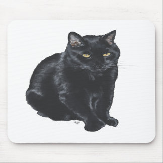 Gato negro hermoso alfombrilla de ratón