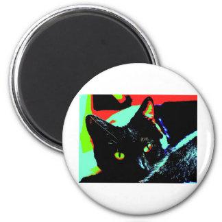 Gato negro imán redondo 5 cm