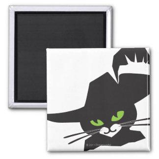 Gato negro imán cuadrado