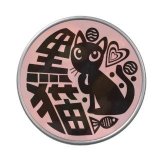 Gato negro jarrones de caramelos