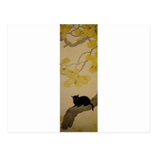 Gato negro (Kuroki Neko) por Hishida Shunso Postales