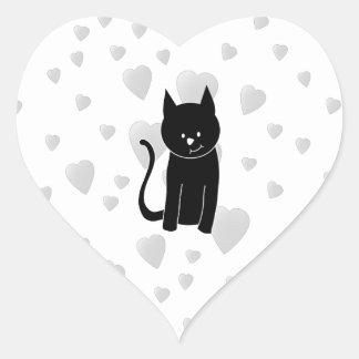 Gato negro lindo con los corazones colcomanias corazon