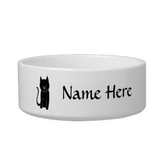 Gato negro lindo tazón para agua para gatos