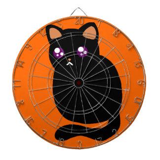 Gato negro lindo de Halloween Tabla Dardos
