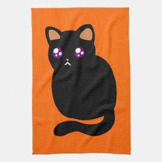 Gato negro lindo de Halloween Toalla De Cocina