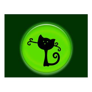 Gato negro lindo del dibujo animado 3D Postales