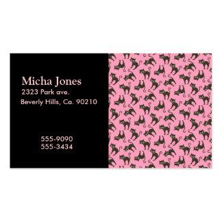 Gato negro lindo del gatito en rosa tarjetas de visita