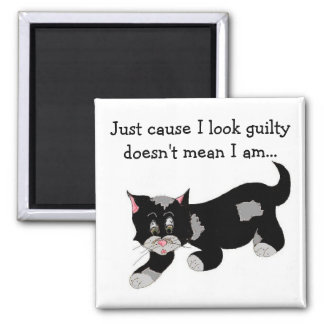 Gato negro lindo del remiendo con decir imán cuadrado